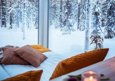 Accommodation ArcticSkylightLodge insideGlassCabins DiscoverMuonio Lapland