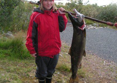 Happy fisherwoman at Lohestajatorppa