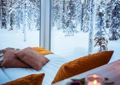 Accommodation ArcticSkylightLodge insideGlassCabins DiscoverMuonio Lapland